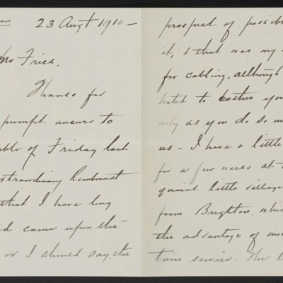 Letter from Charles S. Carstairs to Henry Clay Frick, 23 August 1910