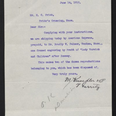 Letter from M. Knoedler & Co. to Henry Clay Frick, 14 June 1910