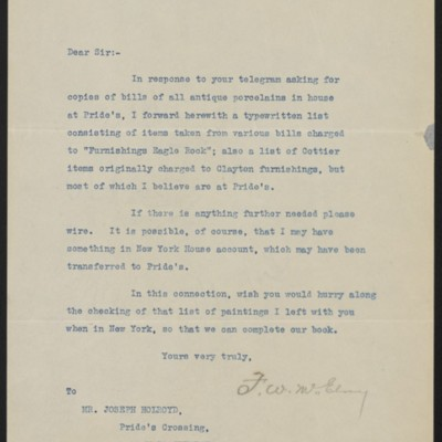 Letter fromF.W. McElroyto Joseph Holroyd, 6 May 1911