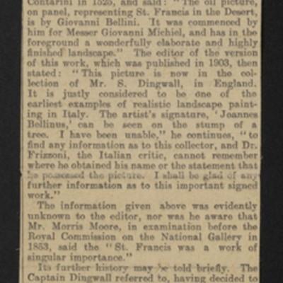 """Clipping, """"A Giovanni Bellini Masterpiece,"""" 5 November 1915"""