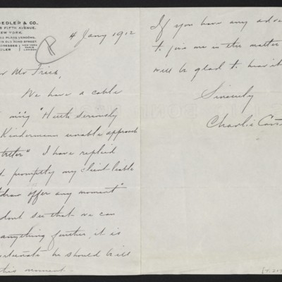 Letter from Charles S. Carstairs to Henry Clay Frick, 4 January 1912
