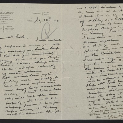 Letter from Roland F. Knoedler to Henry Clay Frick, 24 July 1908