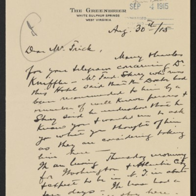 Letter from Roland F. Knoedler to Henry Clay Frick, 30 August 1915