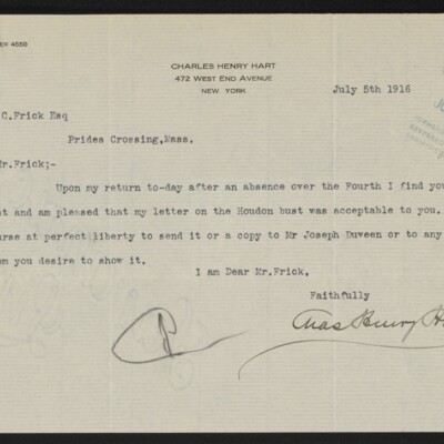 Letter from Charles Henry Hart to Henry C. Frick, 5 July 1916