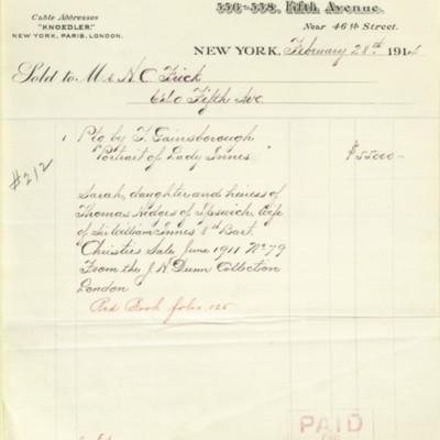 M. Knoedler & Co. Invoice, 28 February 1914