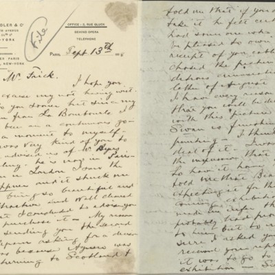 Letter from Roland F. Knoedler to Henry Clay Frick, 13 September 1898