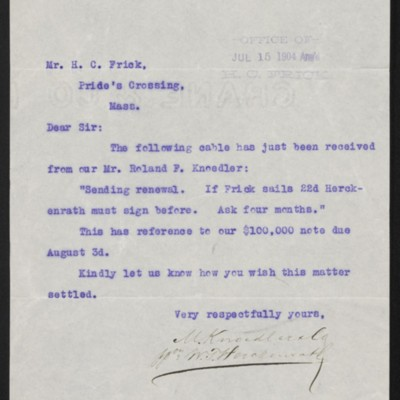 Letter from M. Knoedler & Co. to Henry Clay Frick, 13 July 1904