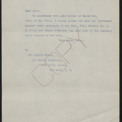 Letter from [Office of the Estate of Henry Clay Frick] to Joseph Duveen, 30 November 1920