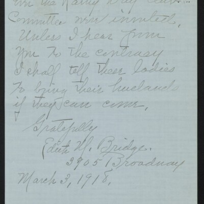Letter from Edith M. Bridge to J. Howard Bridge, 3 March 1918 [page 4 of 4]
