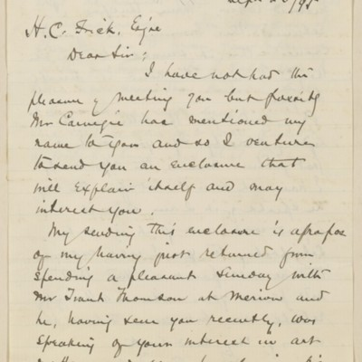 Letter from John C. Van Dyke to Henry Clay Frick, 23 September 1895