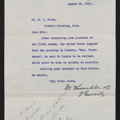 Letter from M. Knoedler & Co. to H.C. Frick, 19 August 1910