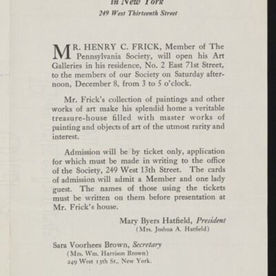 Flyer from the Society of Pennsylvania Women in New York, December 1917 [page 1 of 4]