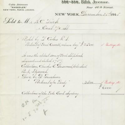 M. Knoedler & Co. Invoice, 31 December 1915