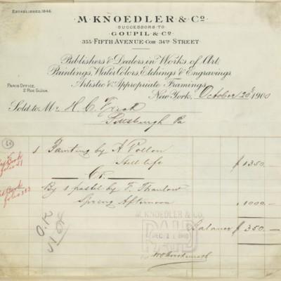 M. Knoedler & Co. Invoice, 20 October 1900