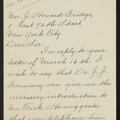 Letter from Henry S. Schley to J. Howard Bridge, 16 March 1918 [page 1 of 2]