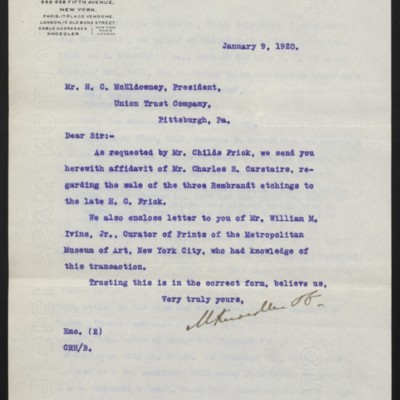 Letter from M. Knoedler & Co. to H.C. McEldowney, 9 January 1920