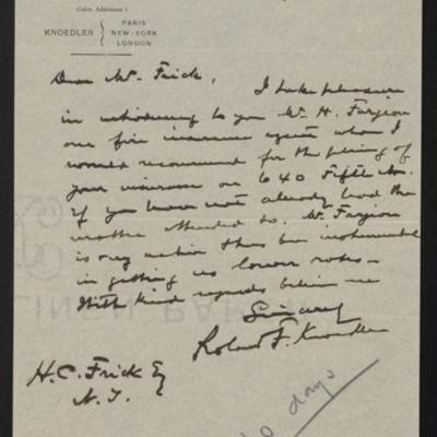 Letter from Roland F. Knoedler to Henry Clay Frick, 11 September 1905