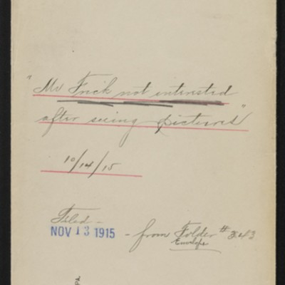 Envelope re Botticelli and Hobein paintings not purchased, 1915