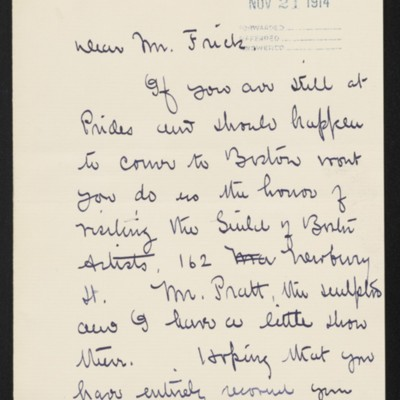 Letter from Edmund C. Tarbell to [Henry Clay] Frick, circa 21 November 1914