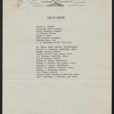 List of members of the Walpole Society, 13 December 1916