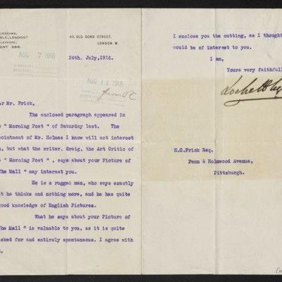 Letter from Lockett Agnew to Henry Clay Frick, 24 July 1916