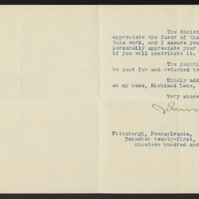 Letter from John W. Beatty to H.C. Frick, 21 December 1910 [page 2 of 2]