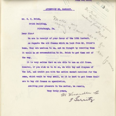 Letter from T. Gerrity of M. Knoedler & Co. to Henry Clay Frick, 12 July 1911