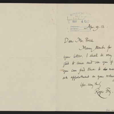 Letter from Roger E. Fry to Henry Clay Frick, 19 April 1912
