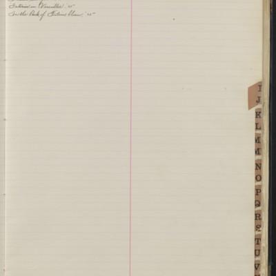 Bill Book No. 1, Index I