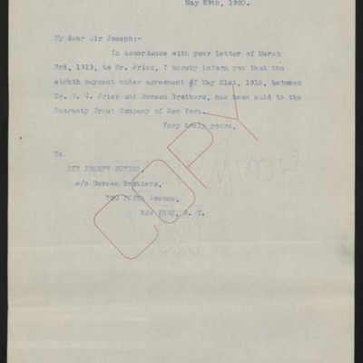 Letter from [Office of the Estate of Henry Clay Frick] to Joseph Duveen, 29 May 1920