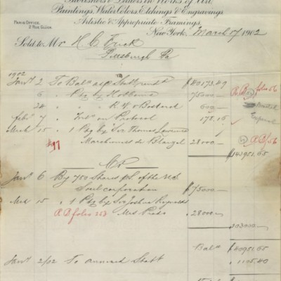 Account statement from M. Knoedler & Co., 2 January to 17 March 1902