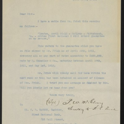 Letter from F.W. McElroy to First National Bank, 26 April 1912
