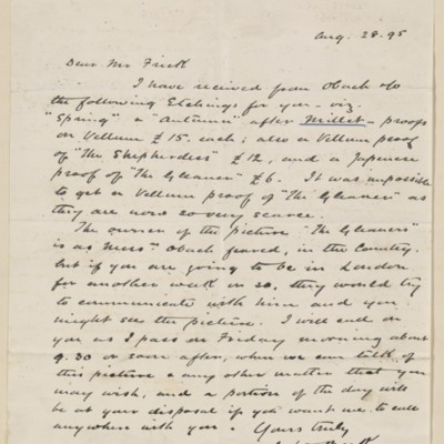 Letter from J.W. Beck to Henry Clay Frick, 28 August 1895
