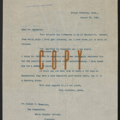 Letter from Henry Clay Frick to Roland F. Knoedler, 30 August 1915