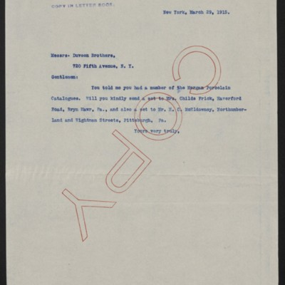 Letter from [Henry Clay Frick] to Duveen Brothers, 29 March 1915