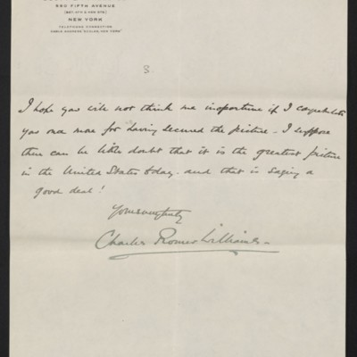 Letter from Charles Romer Williams to [Henry Clay] Frick, 27 February 1911 [5 of 5]