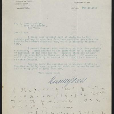 Letter from Robert W. De Forest to J. Howard Bridge, 12 February 1919