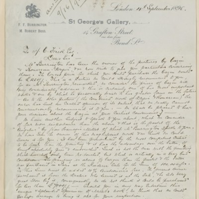 Letter from Burrington & Boss to Henry Clay Frick, 4 September 1895