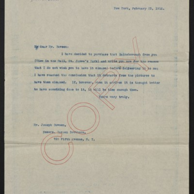 Letter from [Henry Clay Frick] to Joseph Duveen, 25 February 1916