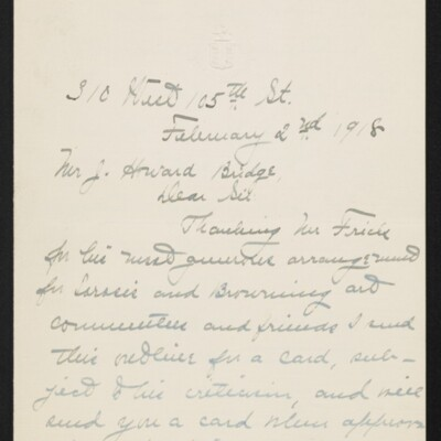 Letter from Jane Fitz Turner to J. Howard Bridge, 2 February 1918 [page 1 of 2]