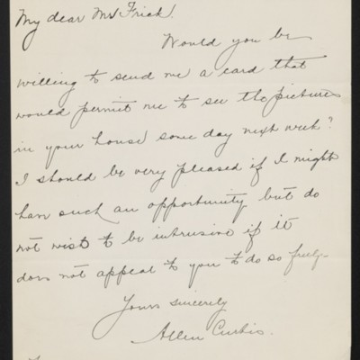 Letter from Allen Curtis to [H.C.] Frick, 1 January 1919