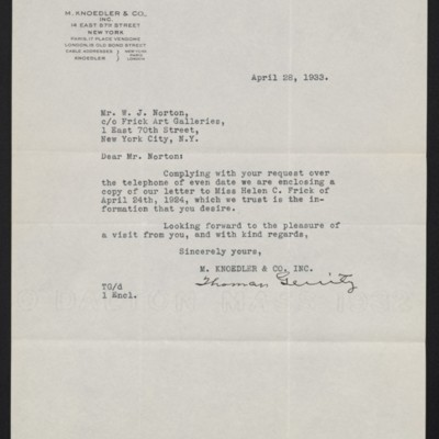 Letter from M. Knoedler & Co. to W.J. Norton [Naughton], 28 April 1933