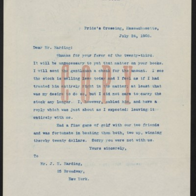 Letter from Henry Clay Frick to J. Horace Harding, 24 July 1908