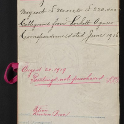 Red envelope for documents relating to Titian paintings, 1916, 1919