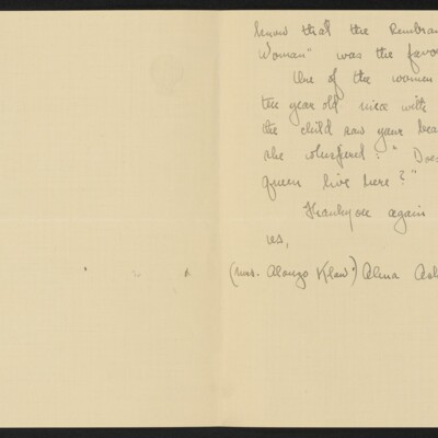 Letter from Alma Ash Klaw to [H.C.] Frick, 27 January 1918 [page 2 of 2]