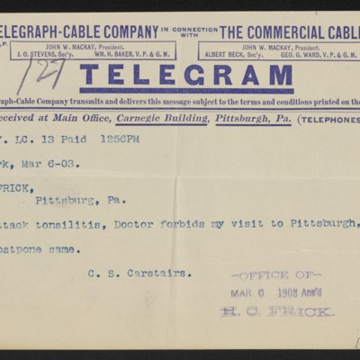 Cable from Charles S. Carstairs to Henry Clay Frick, 6 March 1903