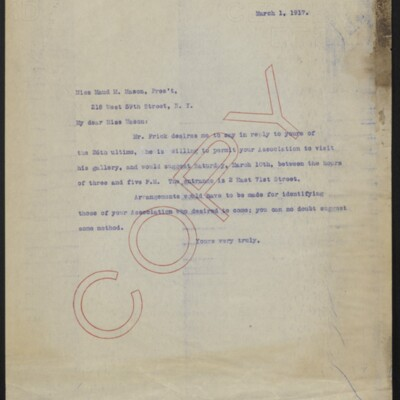 Letter from [H.C. Frick] to Maud M. Mason, 1 March 1917