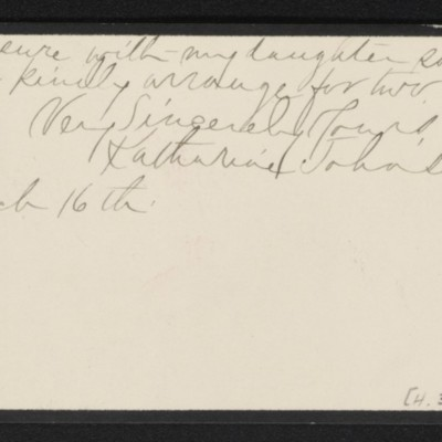 Note from Katharine Johnson to [H.C.] Frick, 16 March [no year] [back]