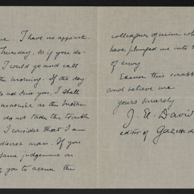 Letter from J.E. David to [Henry Clay Frick], 4 November 1918 [page 2 of 2]