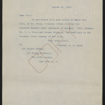 Letter from C.F. Chubb to Joseph Duveen, 31 August 1920